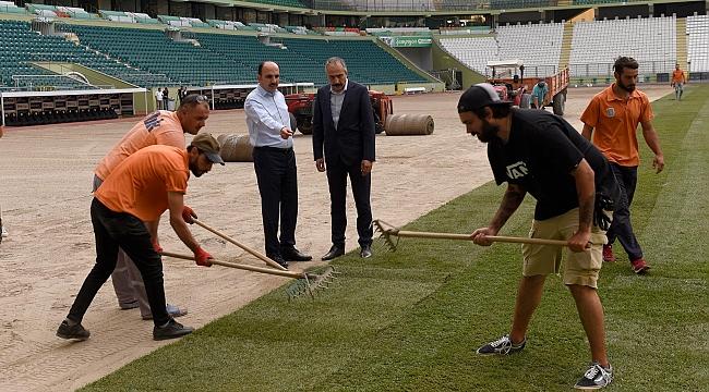 Büyükşehir Stadyumunun çimleri  yenilendi